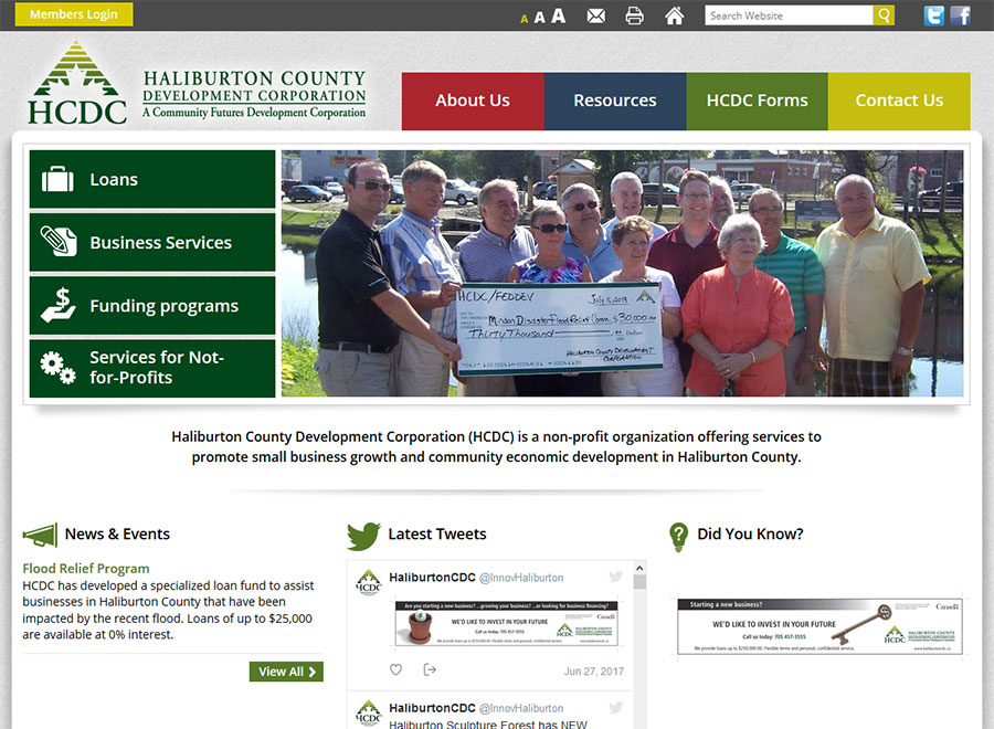 Haliburton County Development Corporation Home page
