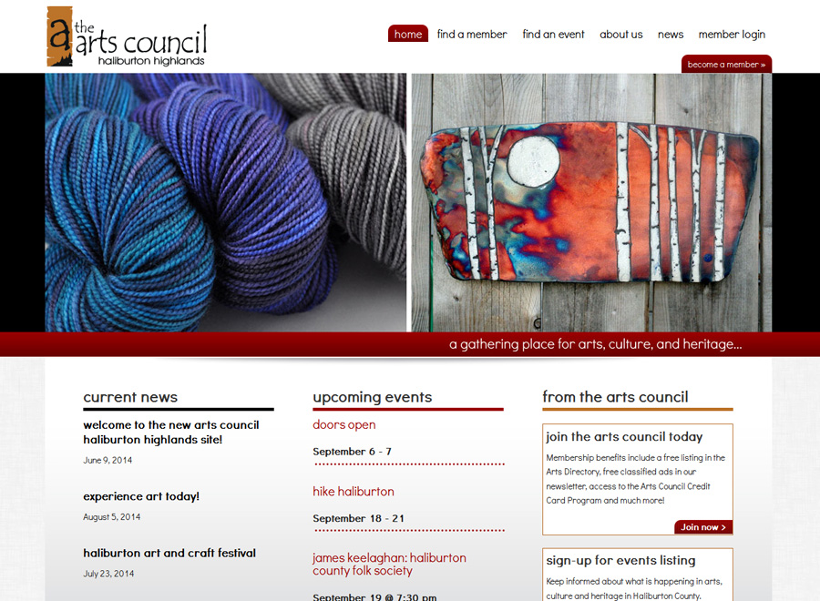 Arts Council Haliburton Highlands Home page