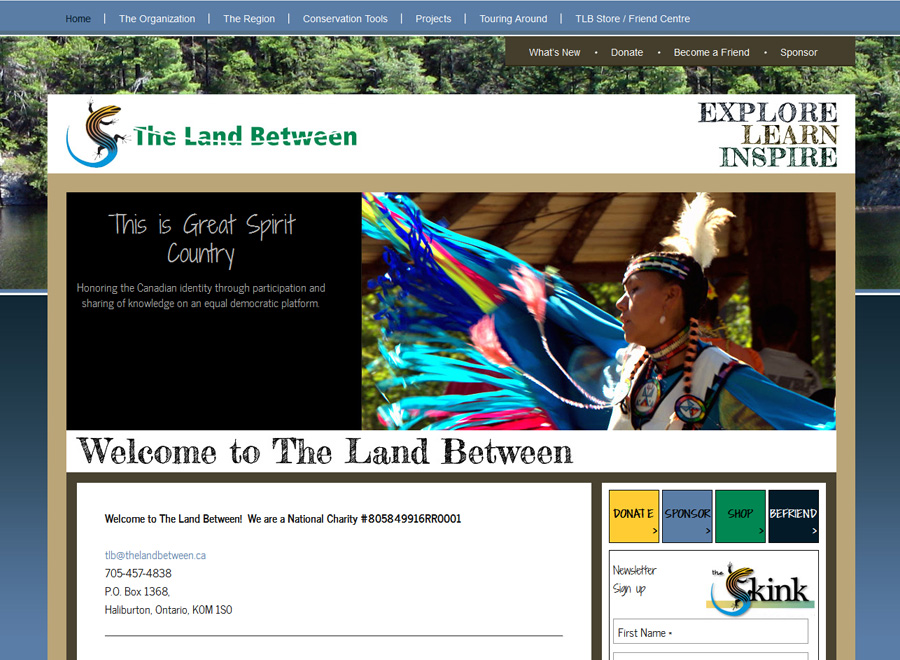 The Land Between Charity Home page