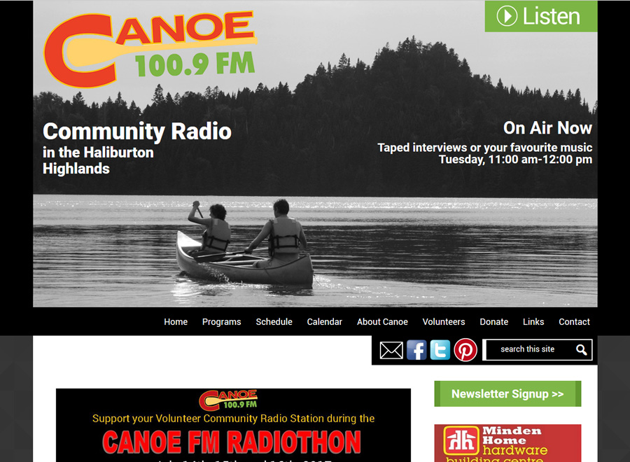 CanoeFM Home page