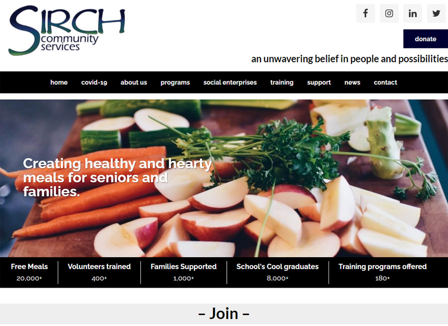 Screenshot of the SIRCH website